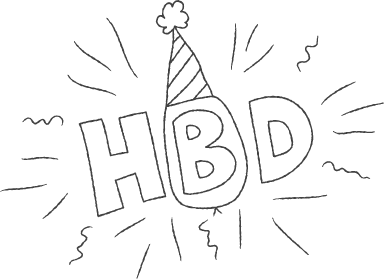 HBD Hat Sticker